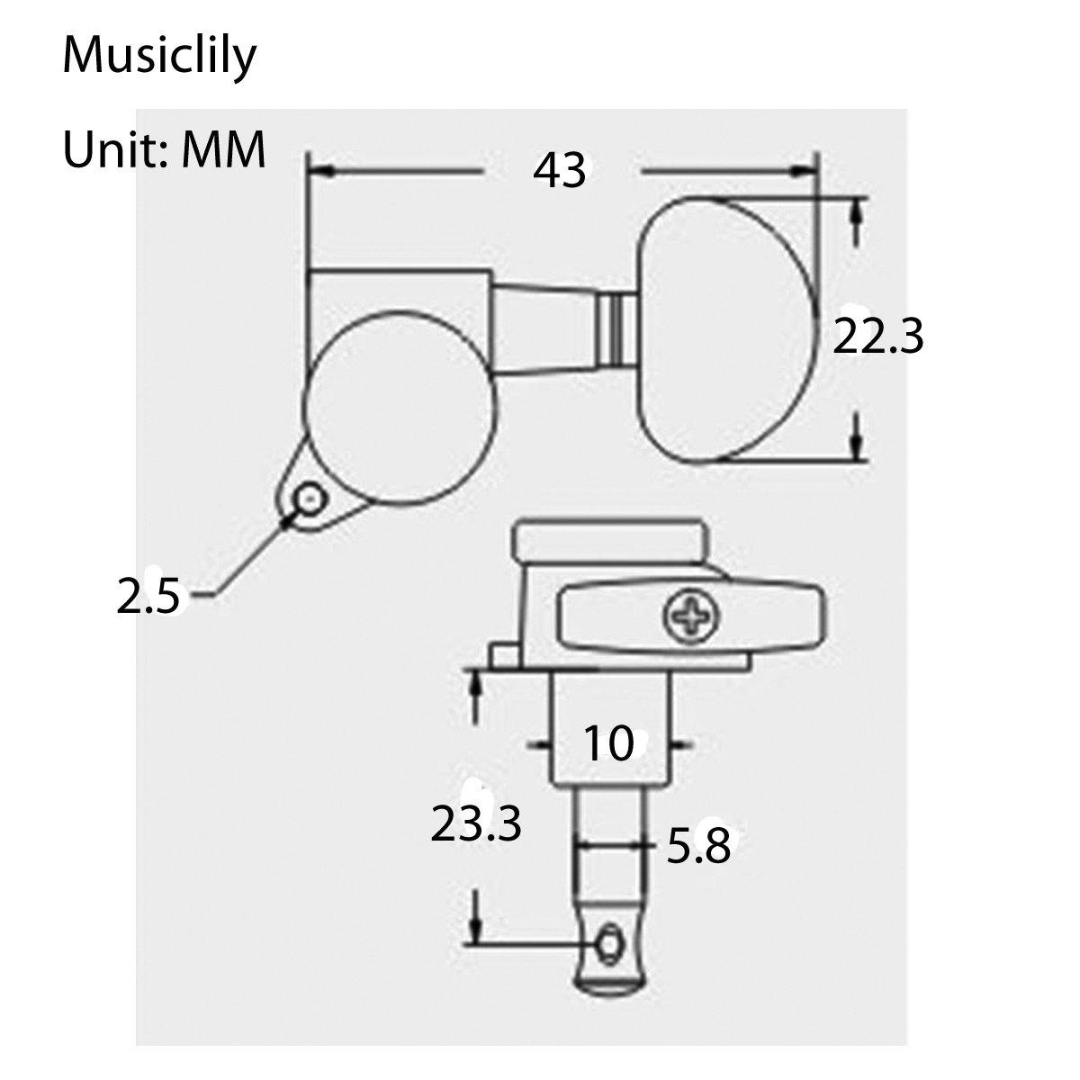 Musiclily 3+3 Guitar Locking Tuners Tuning Keys Pegs Machine Head Set Guitar Parts, Half Moon Button Black