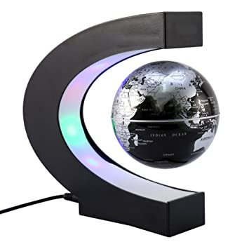 57a906859e94a3 KOBWA Créatif Globe Terrestre Lumineux Flottant Magnétique Levitation Globe  Lamp avec Lumières LED et Base en