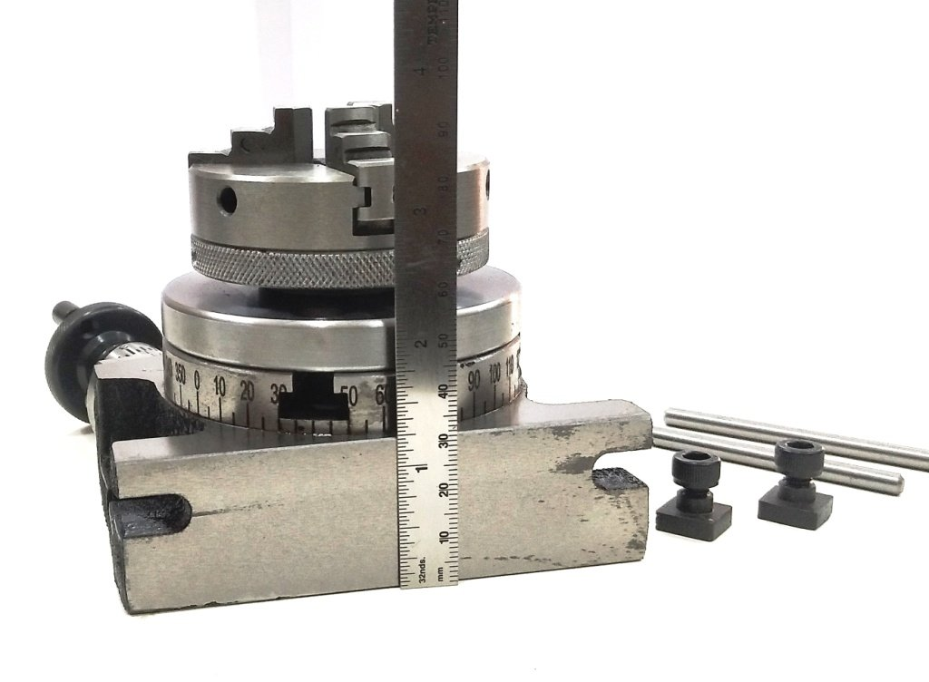 3'' Inches/80 mm Rotary Table & 65 mm 3 Jaws Self Centering Chuck+ steel Back Plate+ 3x M6 T-nuts Bolts-Metalworking, Engineering Indexing Milling Kit
