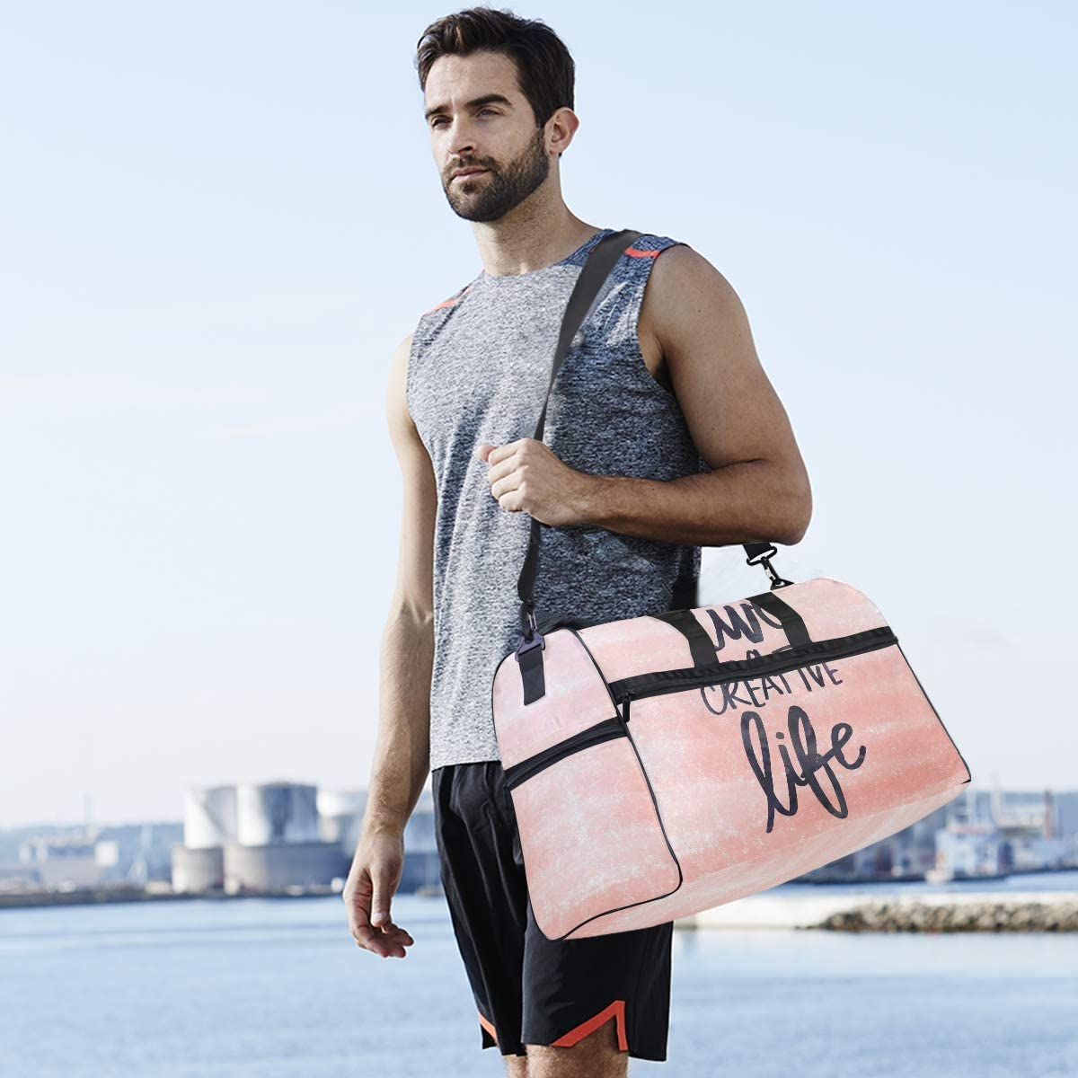 ALAZA Inspirational Life Quote Sports Gym Duffel Bag Travel Luggage Handbag Shoulder Bag with Shoes Compartment for Men Women