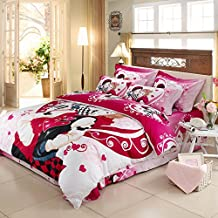 TheFit Home Textile, A Couple Love 1 Cotton Bedding a Family, 3D Oil Print Bedding Cotton Luxury Romantic Bedroom 4 Pcs Queen Set (King)
