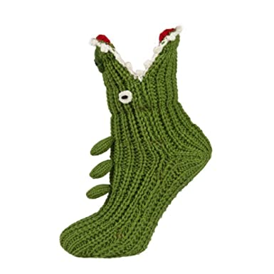 Kids Novelty Grey Shark Or Green Crocodile Knitted Slipper Socks Uk