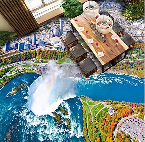 Dalxsh Custom 3D Ocean Island Waterfall Overlooking Pattern Floor Decoration Painting Self-Adhesive Wallpaper Mural-200X140Cm