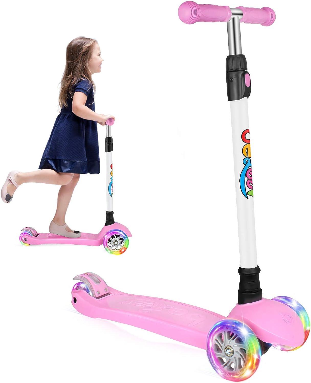 BELEEV Roller Kinder 2 R/äder Klappbar Kick Scooter f/ür M/ädchen Jungen 3 H/öhenverstellbare Kinderscooter PU Led-r/äder Kinderroller
