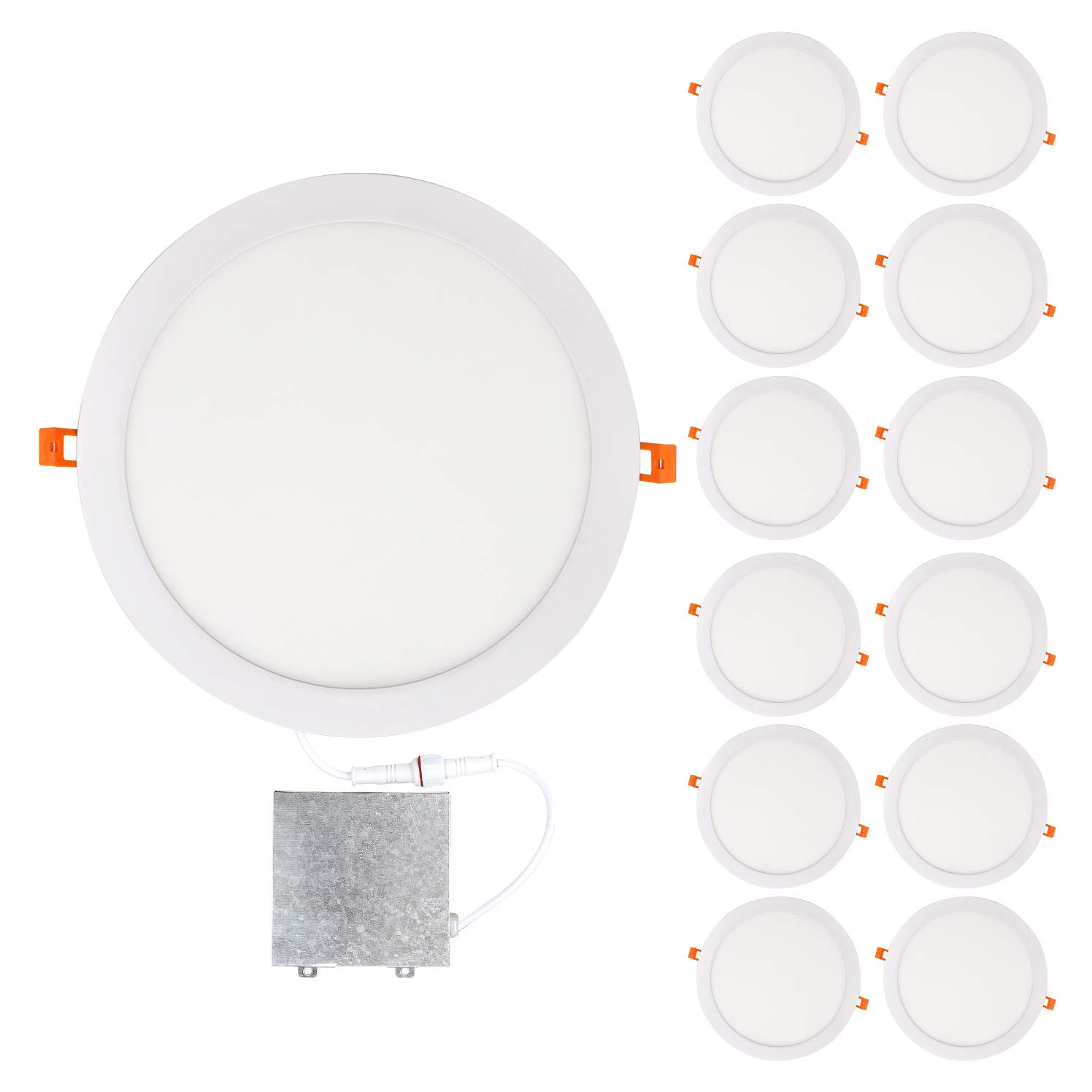 OSTWIN 12 inch 24W (120 Watt Repl.) IC Rated LED Recessed Low Profile Slim Round Panel Light with Junction Box, Dimmable, 3000K Warm Light 1800 Lm. No Can Needed, 12 Pack ETL & Energy Star Listed by OSTWIN (Image #1)