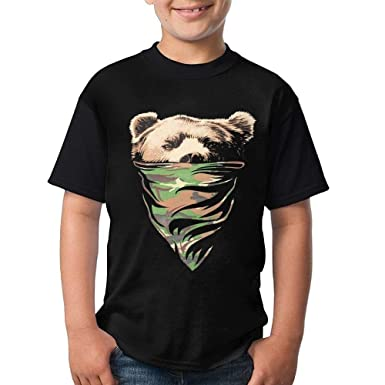d759e804b894 Amazon.com: notebepisse Printing T-Shirt Camo Bandana Bear Casual Short-Sleeve  Round Neck Tees Tops Blouse for Mens and Teens: Clothing