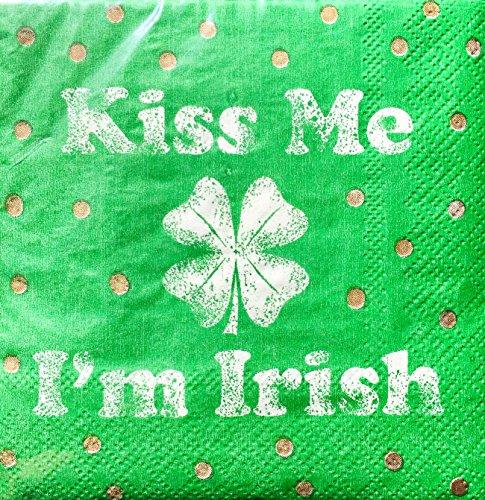 - Cypress Home Kiss Me I'm Irish Cocktail Beverage Paper Napkins, 40-ct