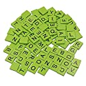 erlvery Damain 200pcs木製Scrabbleタイル、Scrabble、文字、2Completeセット、タイルゲーム、木製ピースGreat for Crafts (グリーン色)