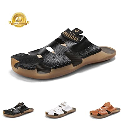 c9c3efcd8 aLins Mens Leather Sandals Outdoor Sports Casual Slides Closed Toe Non-Slip Summer  Beach Shoes