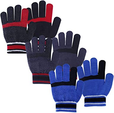 Multicoloured 12 Pairs Toddler Baby Kids Magic Stretch Mittens Winter Unisex Knitted Gloves M