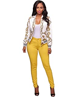 4deb6e0016fa MS Mouse Womens Fashion Vintage Gold Chain Print Short Bomber Jacket Coat