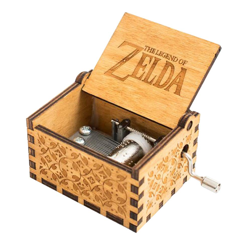 INSHO Antique Carved Hand Cranking Theme The Legend of Zelda Wood Movement Music Box for Home Decoration,Crafts,Toys,Gifts