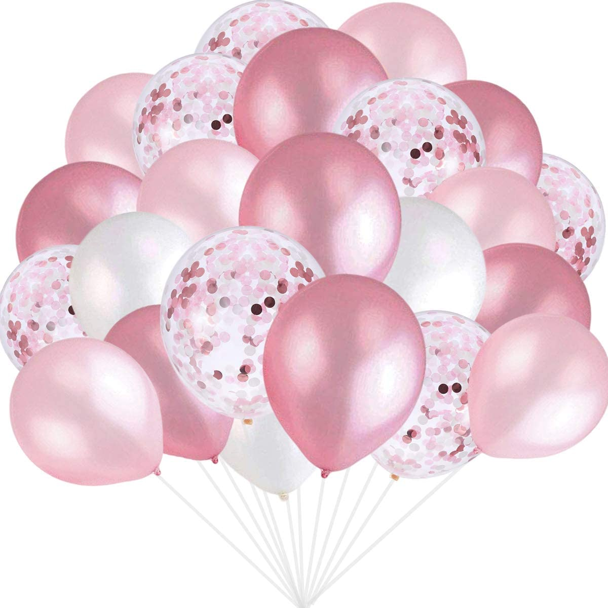 Pink and White Balloons, Pink Confetti Balloons White Balloons Total 90 pcs Latex Party Balloons for Hen Party Wedding Baby Shower Birthday Party Decoration