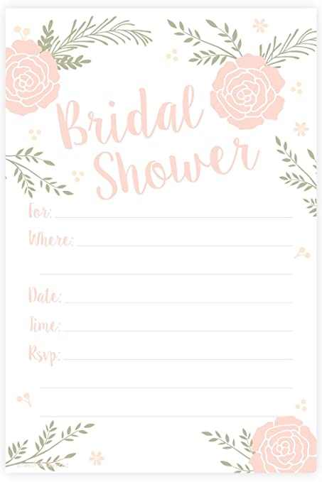 romantic pink floral bridal shower invitations fill in style 20 count with envelopes