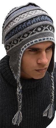 Superfine 100% Alpaca Wool Handmade Intarsia Chullo Ski Hat Unisex Beanie  Aviator Winter (Gray f7c67efd5c8