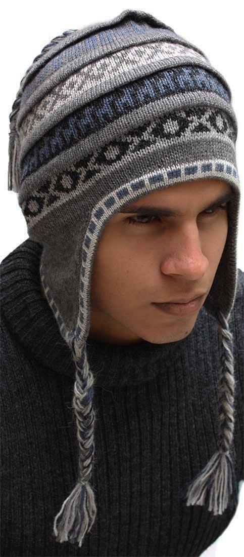 Superfine 100% Alpaca Wool Handmade Intarsia Chullo Ski Hat Unisex Beanie Aviator Winter (Gray)