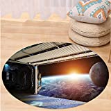 Niasjnfu Chen Custom carpetOuter Space Decor Earth Scene from a Space Plane Runway Gate Globe Galaxy Up to Stars Picture for Bedroom Living Room Dorm Multi