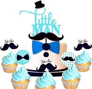 29 PCS JeVenis Little Man Cake Topper Little Man Baby Shower Cupcake Decoration Bow Tie Baby Shower Cupcake Toppers for Boy Baby Shower