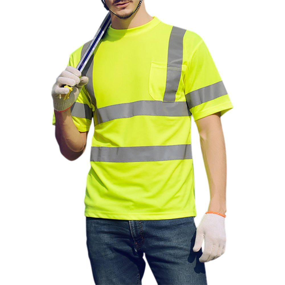 GOGO High-Visibility T-Shirt with Moisture Wicking Mesh, with Pocket-Neon Yellow-XL