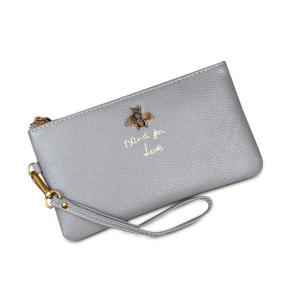 Ophlid Bee Wristlet Purse for Women, Genuine Leather Wristlet Clutch with Strap (gray)