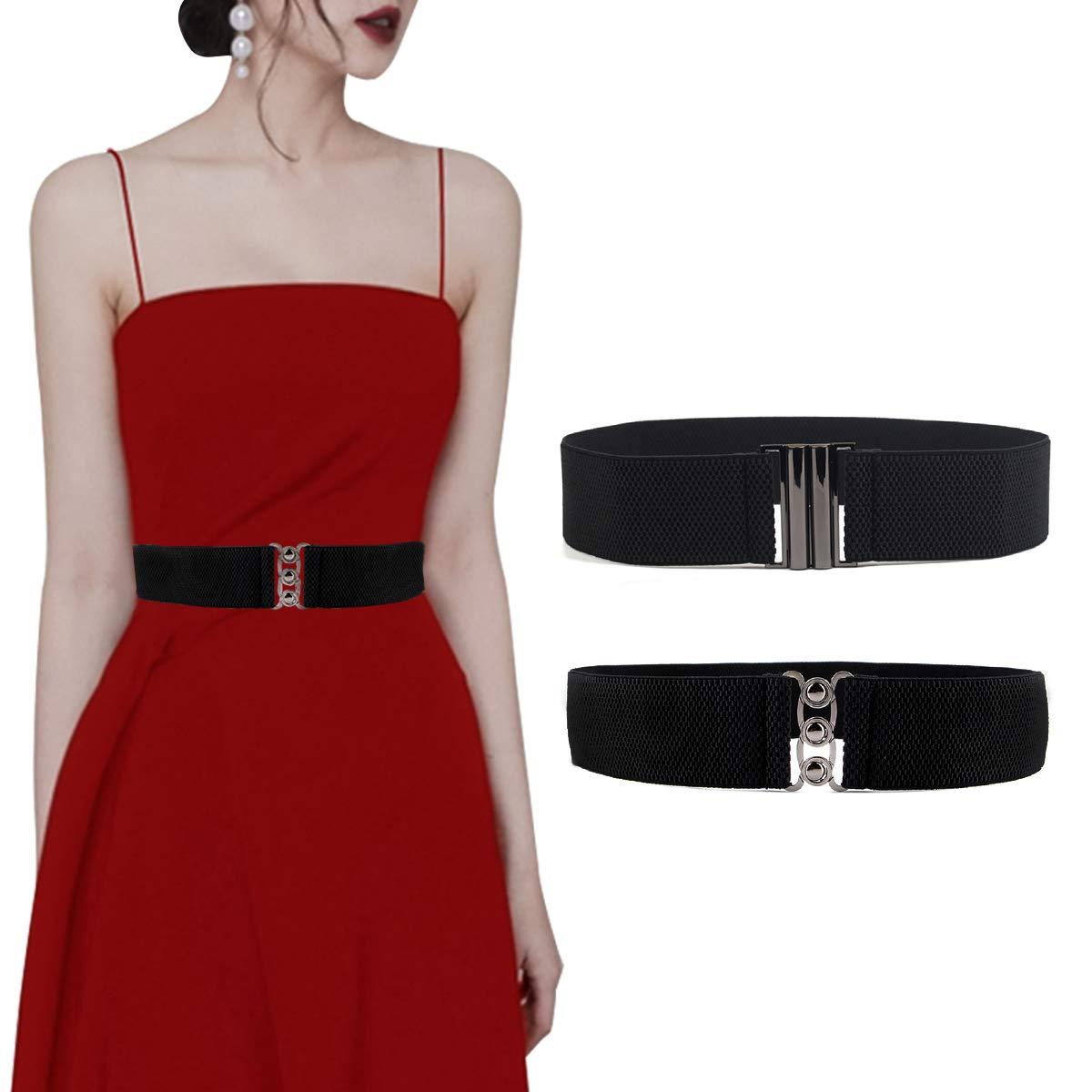 Lalafancy 2 Stück elastischen Flach Schnalle Gürtel Damen Taillengürtel Mode Bund Kleid