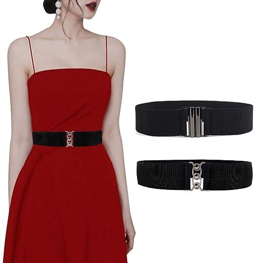 1e55377669d27 2 Pack Womens Wide Elastic Waist Belt Fashion Waistband Dress Ladies Waist  Belts Stretchy Cinch Belt
