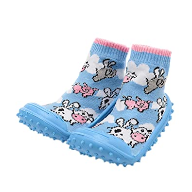 iEndyCn Non slip Floor Boots Floral Baby Sock With Rubber Soles For Children Cotton Shoes