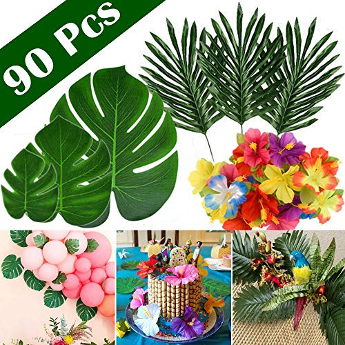 FEPITO 90 Pcs Artificial Tropical Leaves for Hawaiian Party Decorations, Artificial Faux Tropical Palm Monstera Leaves Hibiscus Flowers for Aloha Jungle Safari Birthday Tropical Luau Party Supplies ()