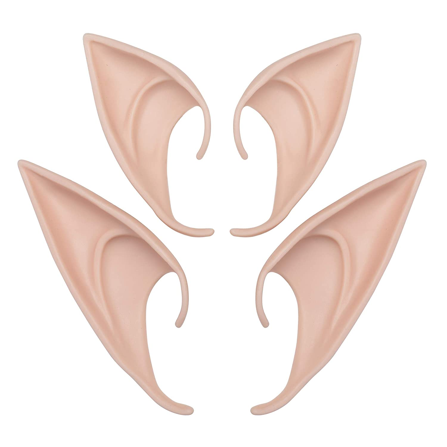 Beautyflier 2 Pairs Halloween Latex Elf Ears Cosplay Goblin Ears