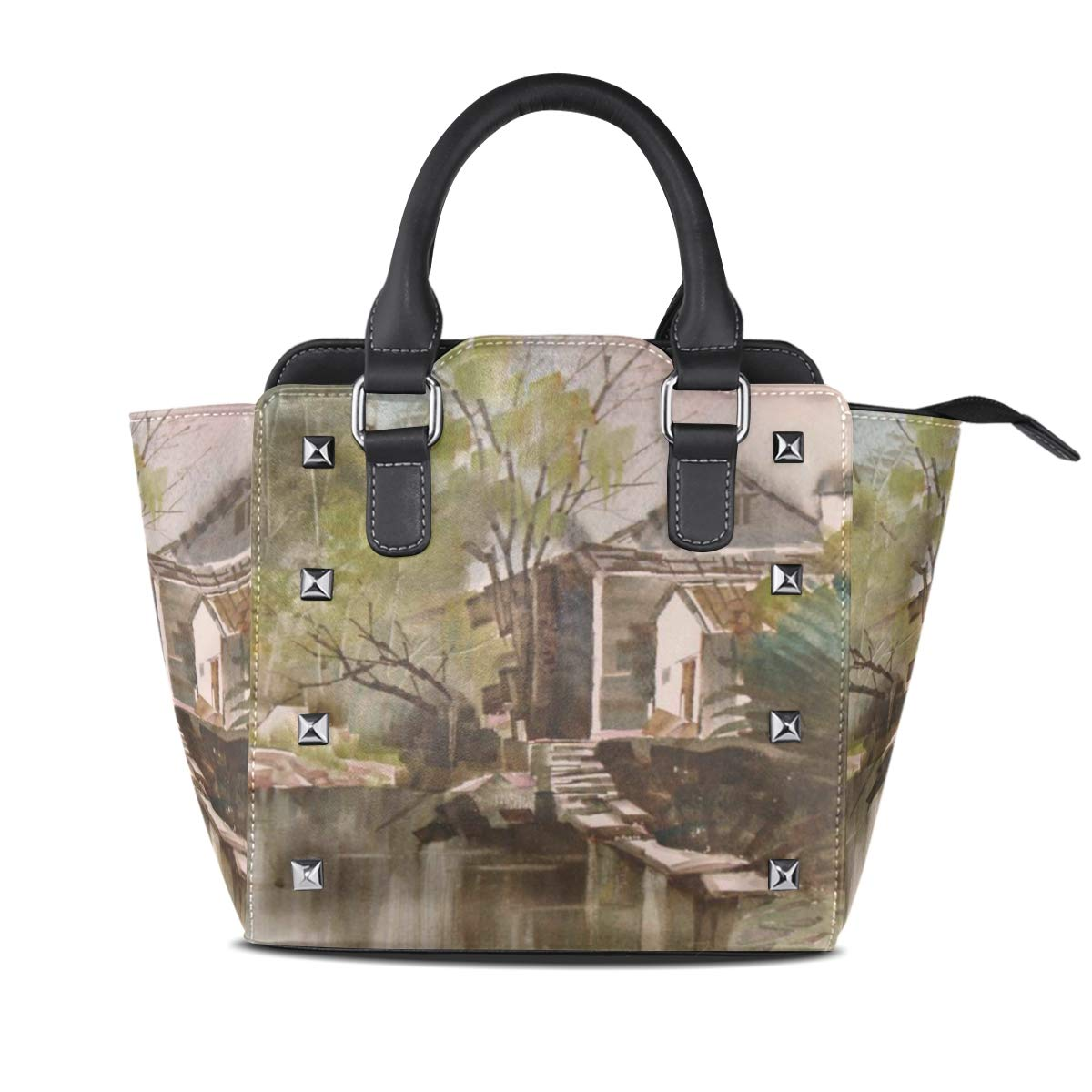 Design 3 Handbag Town Seaside Flowers Trees Genuine Leather Tote Rivet Bag Shoulder Strap Top Handle Women