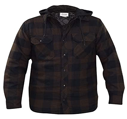 822622784b Mens Padded Shirts Lumberjack Hooded Flannel Check Jacket Thick Quilted  Work Wear Warm Thermal Fleece Fur Lined Top Casual Coat Size M-XXL (M