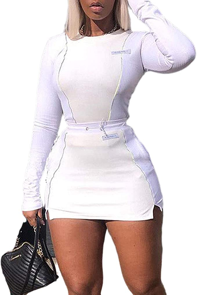 Womens Casual 2 Piece Outfits Skirt and Crop Top Set Bodycon Ruffle Long Sleeve Side Stripes Slit Midi Dress