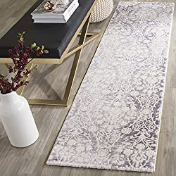 "Safavieh Passion Collection PAS403A Vintage Medallion Watercolor Lavender and Ivory Distressed Runner (2'2"" x 8')"