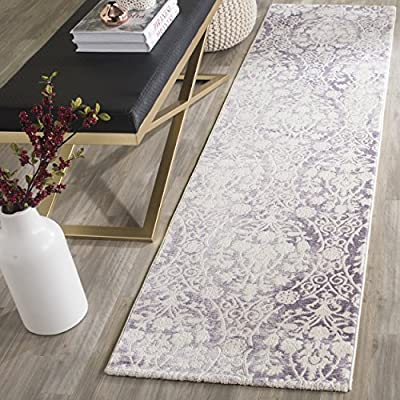 """Safavieh Passion Collection PAS403A Vintage Medallion Watercolor Lavender and Ivory Distressed Runner (2'2"""" x 8') - The high-quality polypropylene pile fiber adds durability and longevity to these rugs The power loomed construction adds durability to this rug, ensuring it will be a favorite for many years This traditional, vintage rug will give your room an elegant accent - runner-rugs, entryway-furniture-decor, entryway-laundry-room - 61jR LrK3lL. SS400  -"""