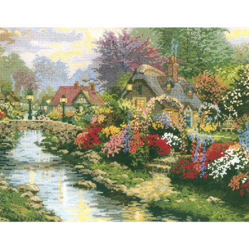 - M C G Textiles 14 Count Thomas Kinkade Lamplight Bridge Counted Cross Stitch Kit, 14 by 11-Inch