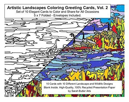 Artistic Landscapes Coloring Greeting Cards, Vol. 2, Set of 10 Elegant Cards to Color and Share for All Occasions,