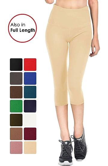 337956b251879 VIV Collection Signature Women's Capri Solid Brushed Leggings Mid/High Waist