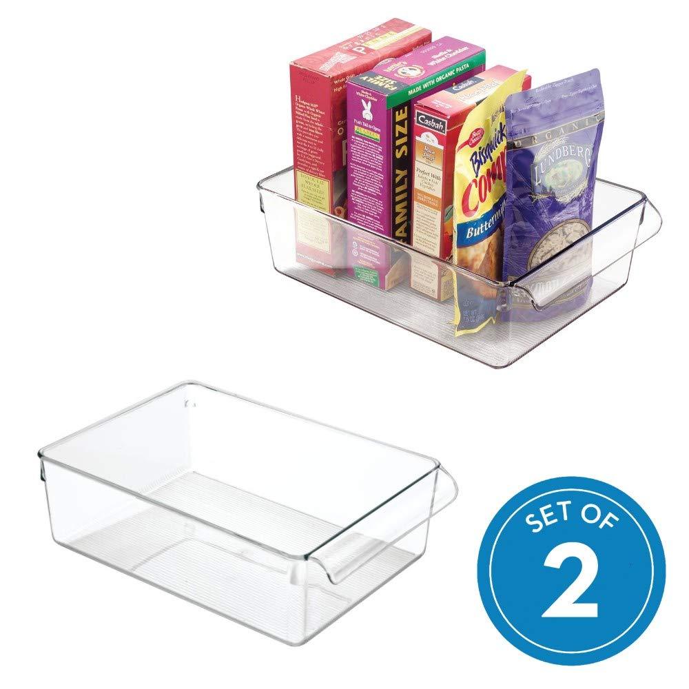 transparente organizador para la cocina de pl/ástico de tama/ño grande InterDesign Linus Caja para almacenaje caja con asas