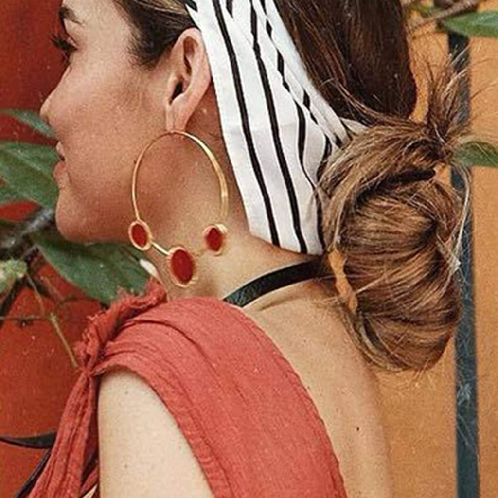 YGbuy Moda Metal Exagerado Grandes Pendientes de Tama/ño C/írculo Rojo Joyer/ía de las Se/ñoras Elegantes Pendientes de Cuentas Earstud regalo de la joyer/ía del o/ído barato /Útil