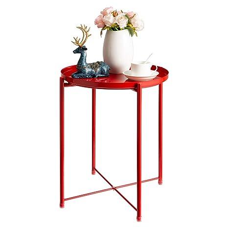 Amazon.com: HollyHOME - Mesa auxiliar de metal, mesa de sofá ...