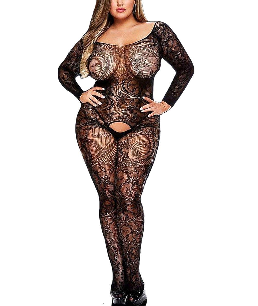 2e8fb00c0 Amazon.com  Curbigals Women Sexy Lingerie Plus Size Crotchless Bodystocking  Long Sleeves Bodysuit (Black