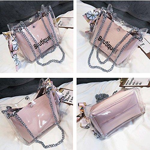 Transparente Pink Bolso Nuevo Bolso Color Bolso Femenino Diagonal Mujer de Handbag Bolso de Verano Pink A qwCA6IBx