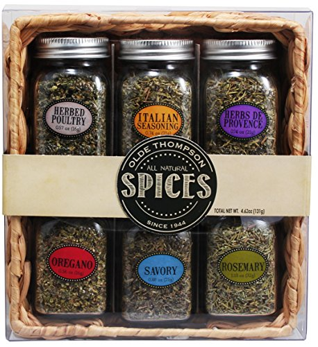 Olde Thompson 6 Glass Mason Jar Spice Rack Gift Set with Basket, Clear (Olde Thompson Spice Jars)