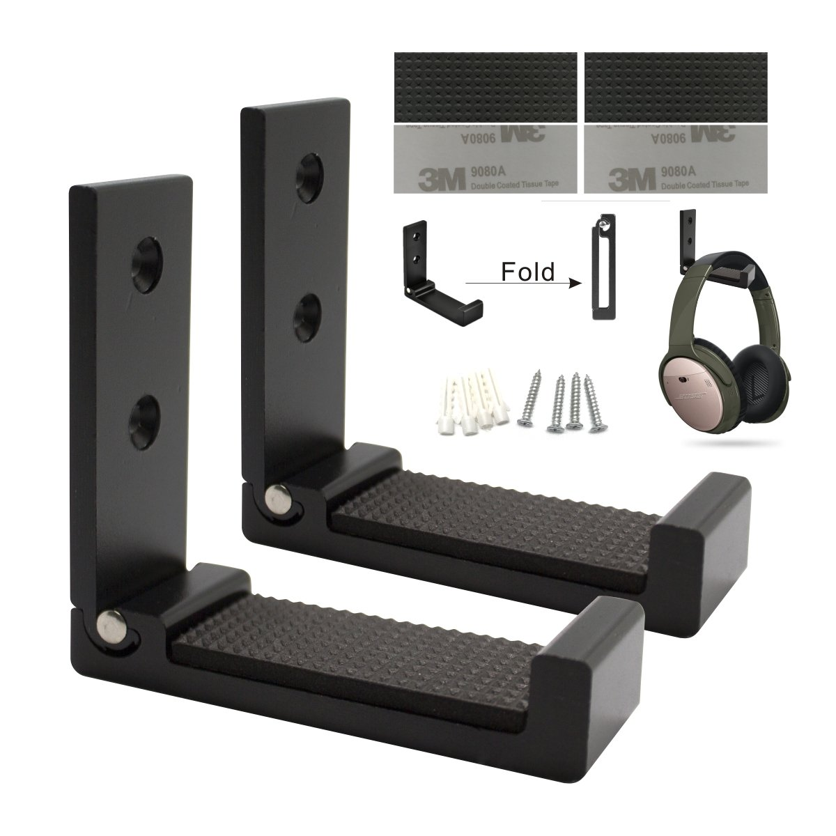 Foldable headphone holder, Aluminum wall mount hook, Hold up to 20KG with screws, 1KG with 3M Adhesive(2p black)