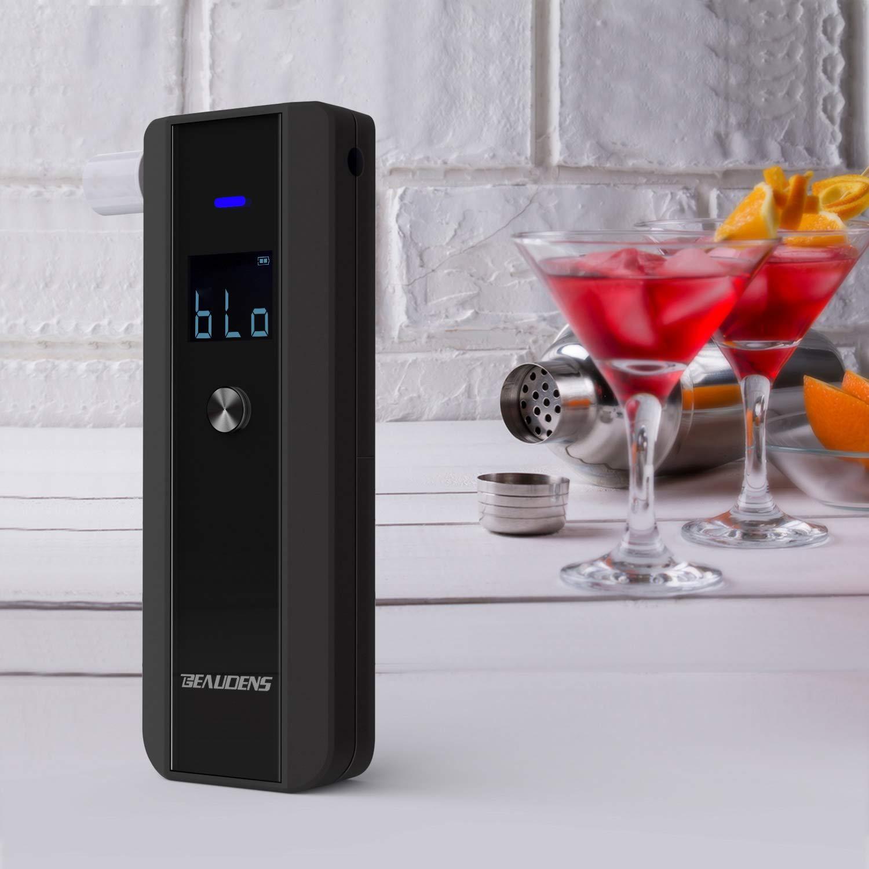 BEAUDENS Alcolimetros Homologados Sensor Semiconductor Pantalla LCD Profesional Alcohol/ímetro Port/átil Que se Puede Apagar con 10 Boquillas Desechables Negro