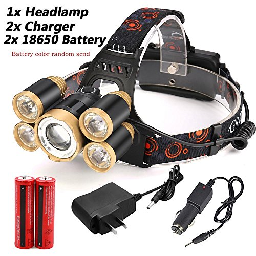 LED Headlamp Waterproof,ZIYUO 35000LM Zoomable 5x XM-L T6 LED Headlamp Headlight Camping hiking Fishing flashlight Torch