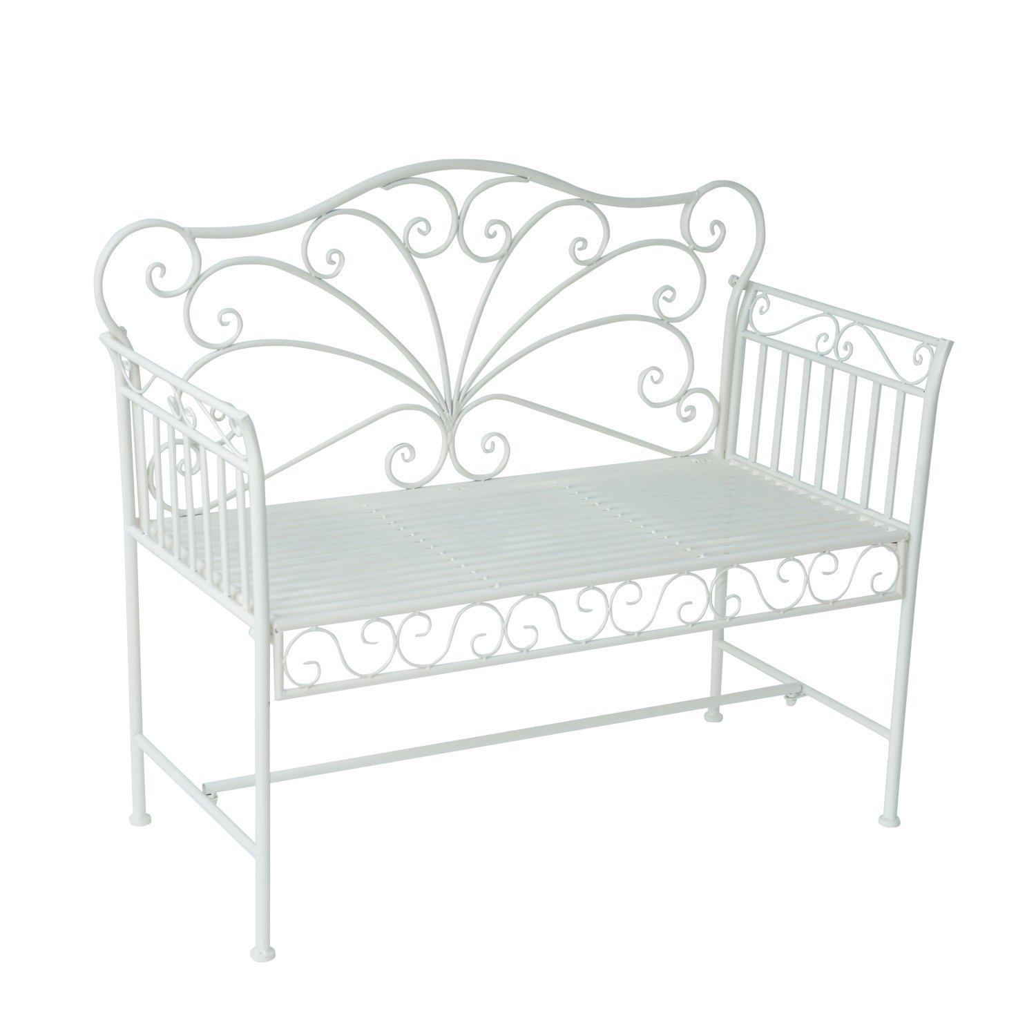 "Outsunny 43"" Antique Metal Outdoor Patio Garden Bench - Cream White"