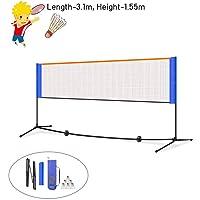 Badminton Set, Red de Voleibol y Tenis, Red Badminton Portátil con Soporte y Bolsa para Jardin, 3.1m/4.2m, Red óptima para Partidos Indoor o Outdoor, Fácil Instalación