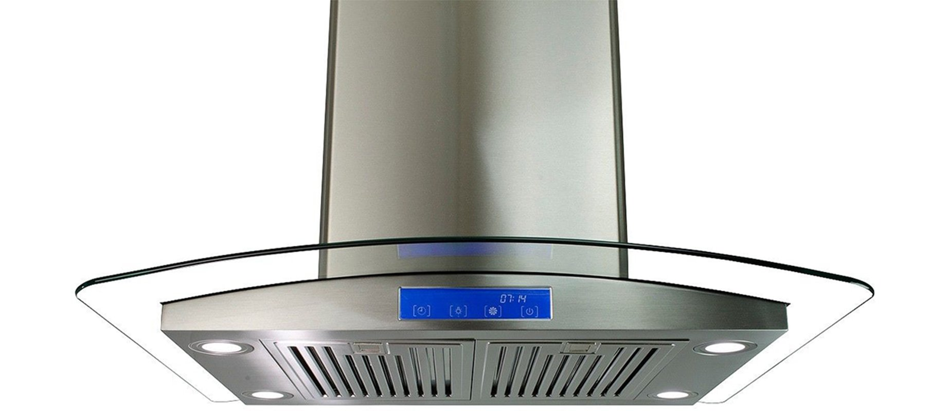 Cosmo 668ICS900 36 in. Island Mount Range Hood with Tempered Glass Visor, Soft Touch Controls, LED Lighting and Permanent Filters