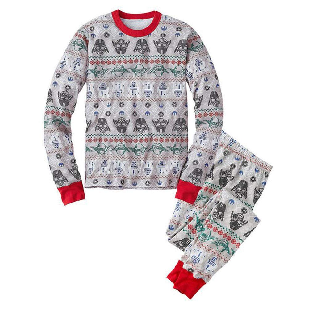 Hzjundasi Familie Matching Weihnachten Pyjama Set Schlafanz/üge Xmas Lange /Ärmel Drucken Tops und Hose Nachtw/äsche f/ür Familie